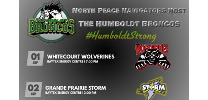 Wolverines and Storm to Play Humboldt Broncos in Peace River