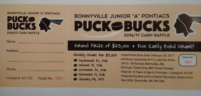 Bonnyville Junior 'A' PUCK BUCKS Raffle 'On Sale' Next Week